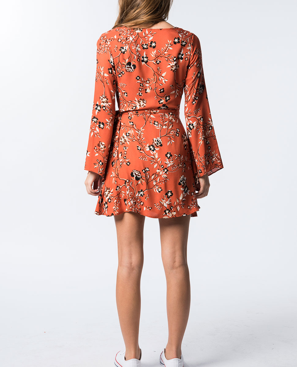 Rust Roses Wrap Dress