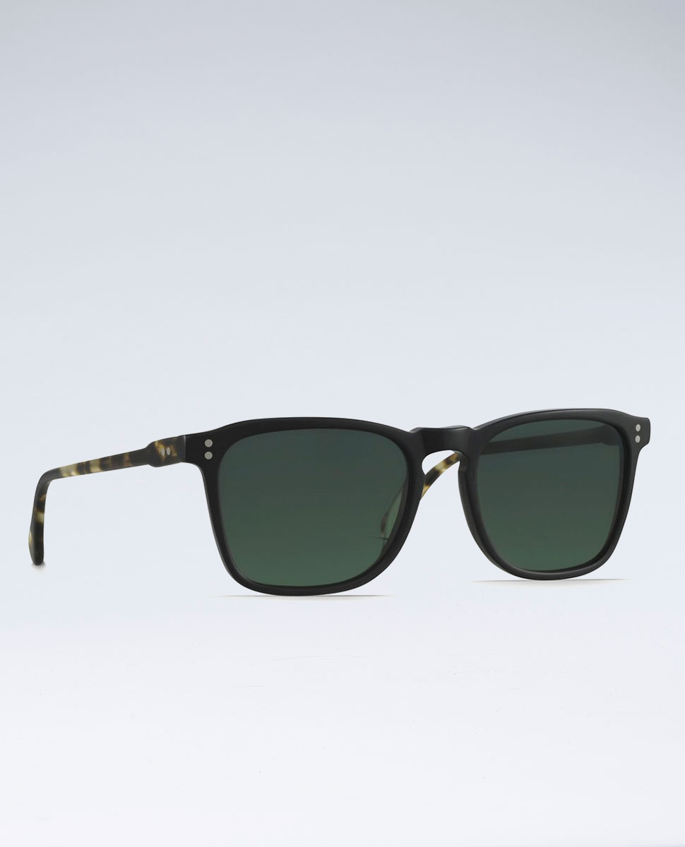 Wiley Matte Black Bridle Grn Polarised Sunglasses