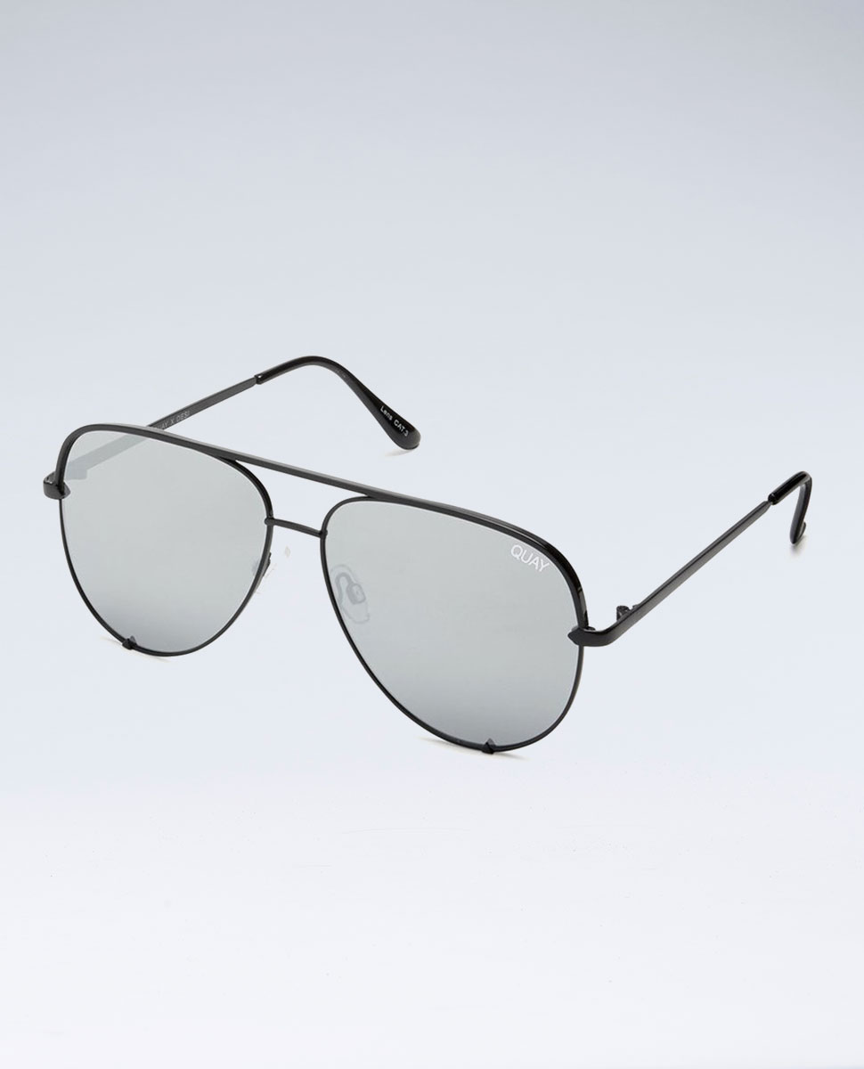 Quay High Key Blk/Silver Mirror Sunglasses