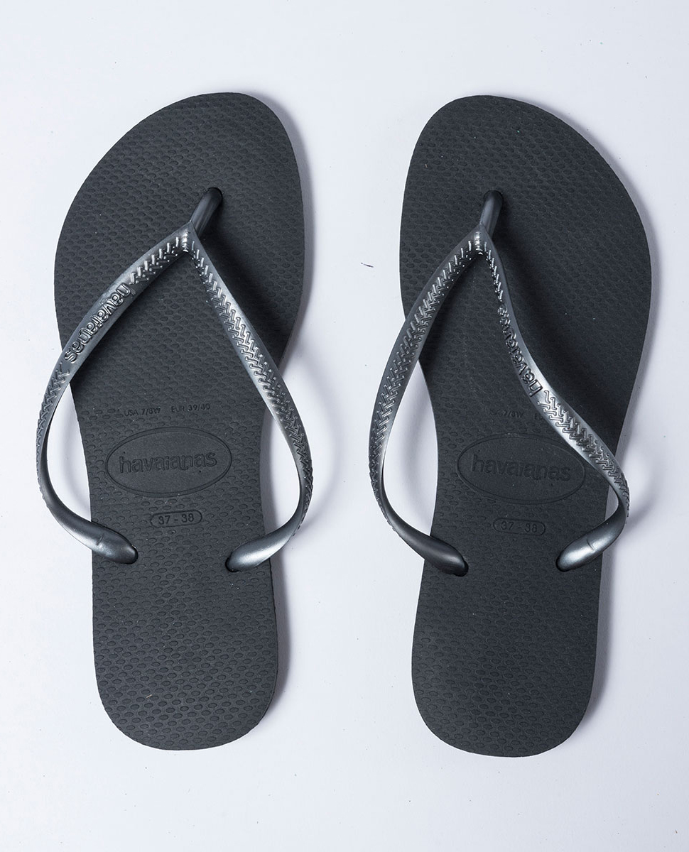 Slim Metallic Grey Thongs