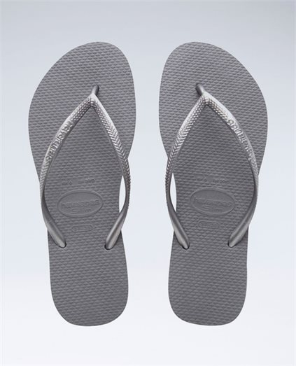 Slim Metallic Steel Grey  Thongs - Girls