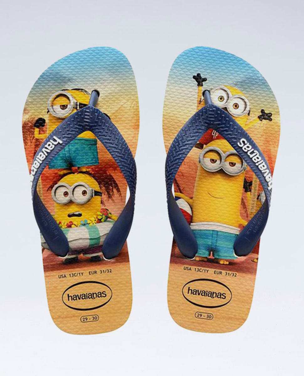 Minions Beige/Navy Blue Thongs - Boys