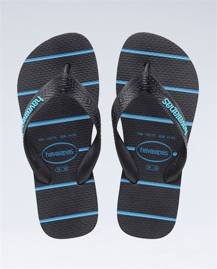 Stripes Black/Blue Thongs - Boys