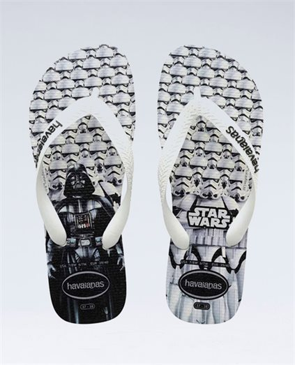 Star Wars White/White Thongs - Boys
