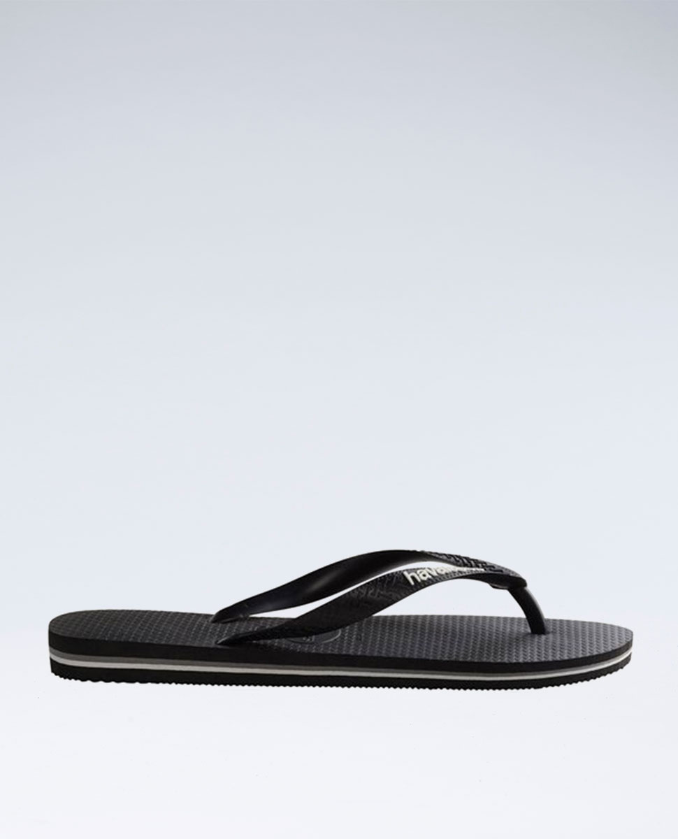 Rubber Logo Black/Glacial White Thongs - Boys