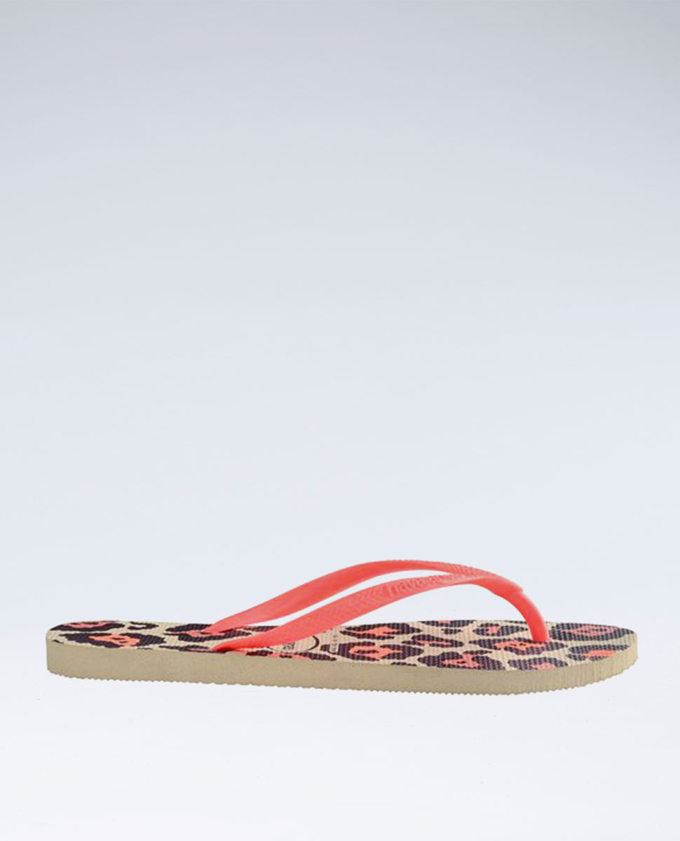 Slim Animals Beige/Coral Thongs - Girls