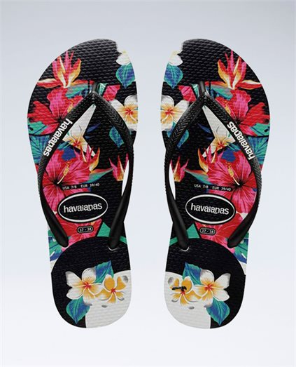 Slim Floral Tropical Black Thongs - Girls