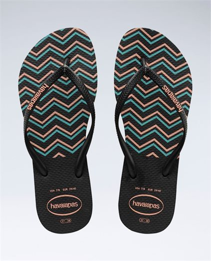 Slim Zig Zag Black/Salmon Thongs - Girls