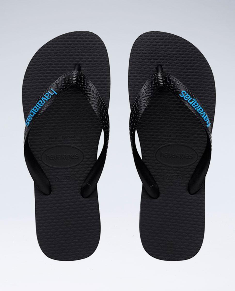 Rubber Logo Black/Blue Thongs