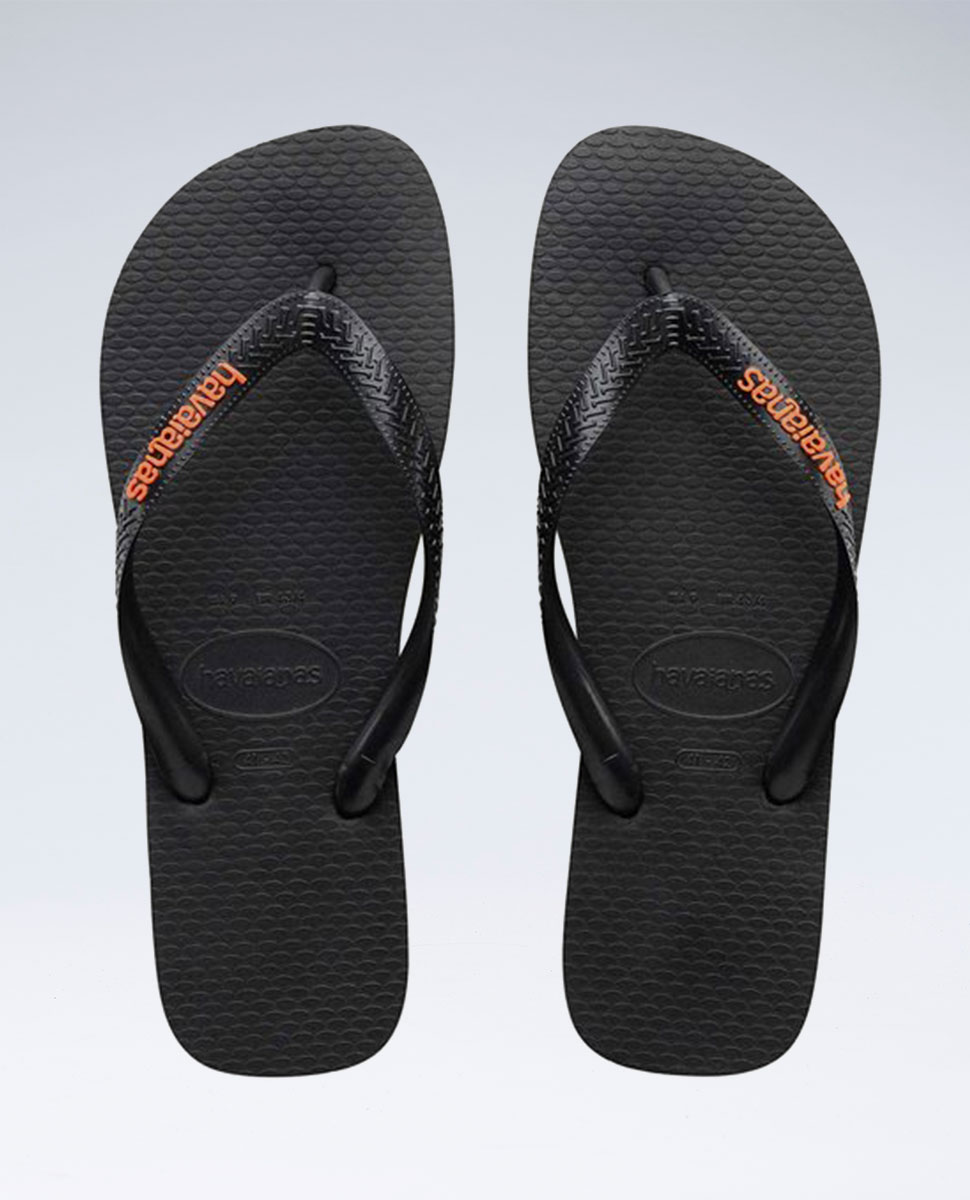 Rubber Logo Black/Orange Neon Thongs