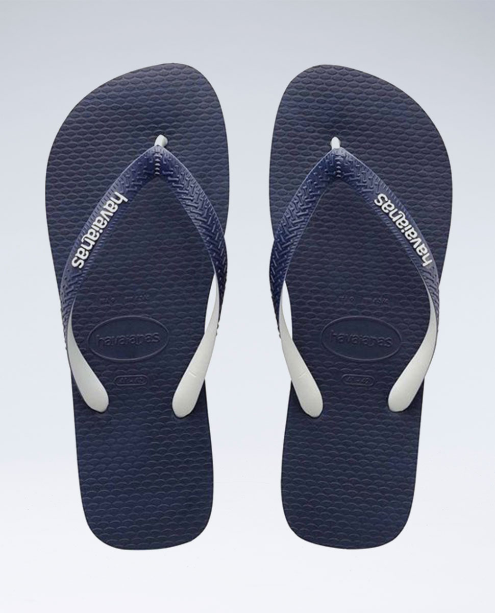 Rubber Logo Mix Navy Blue/White Thongs