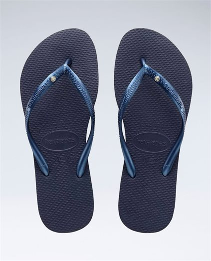 Slim Crystal Navy Blue Thongs