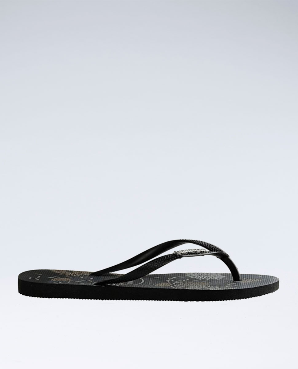 Slim Metal Logo Bloom Black/Black Thongs