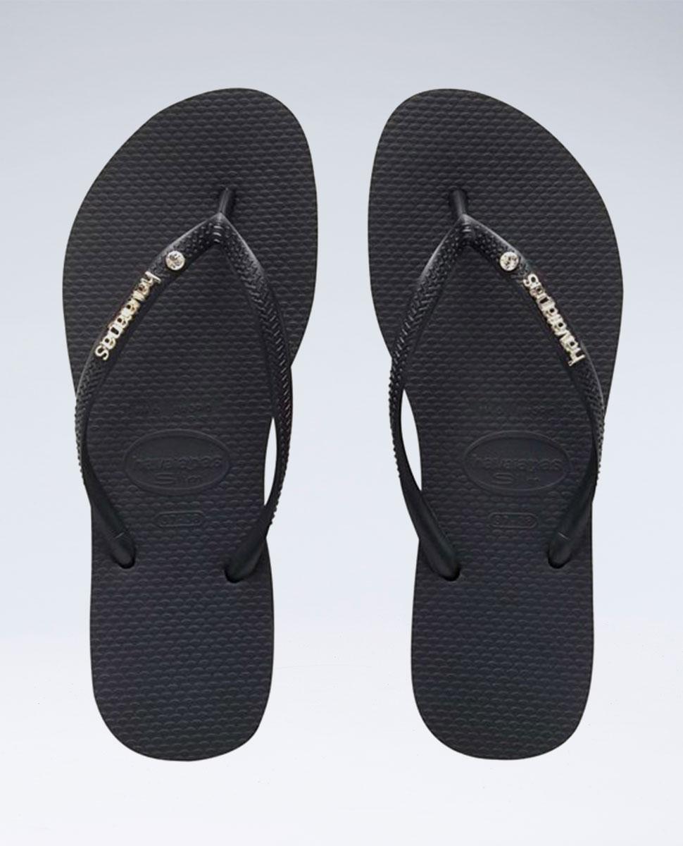 Slim Metal Logo Crystal Black/Black Thongs