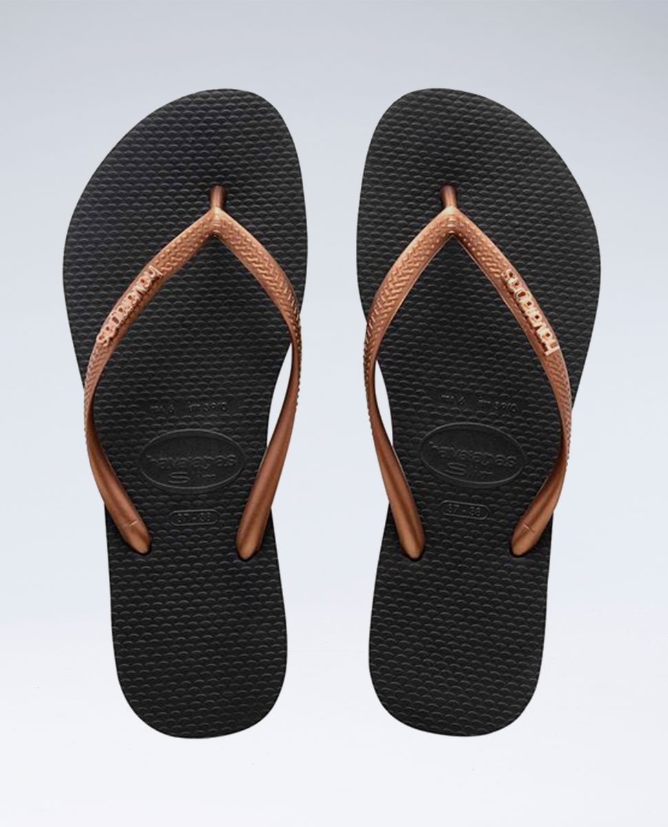 Slim Metal Logo Black/Copper Gold Thongs