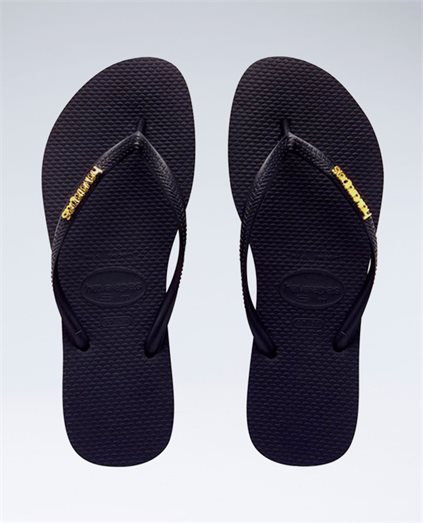 Slim Metal Logo Black/Gold Thongs