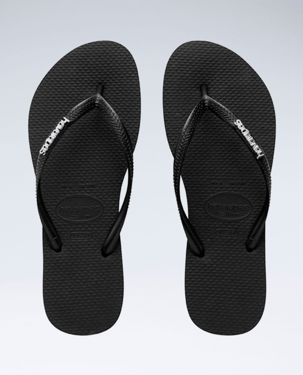 Slim Metal Logo Black/Silver Thongs