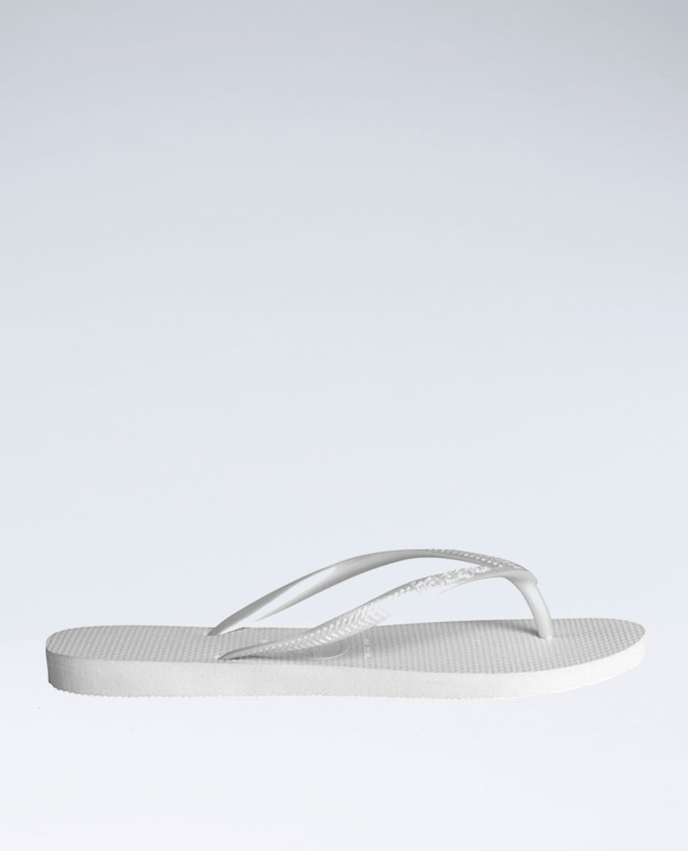 Slim Metallic White Thongs