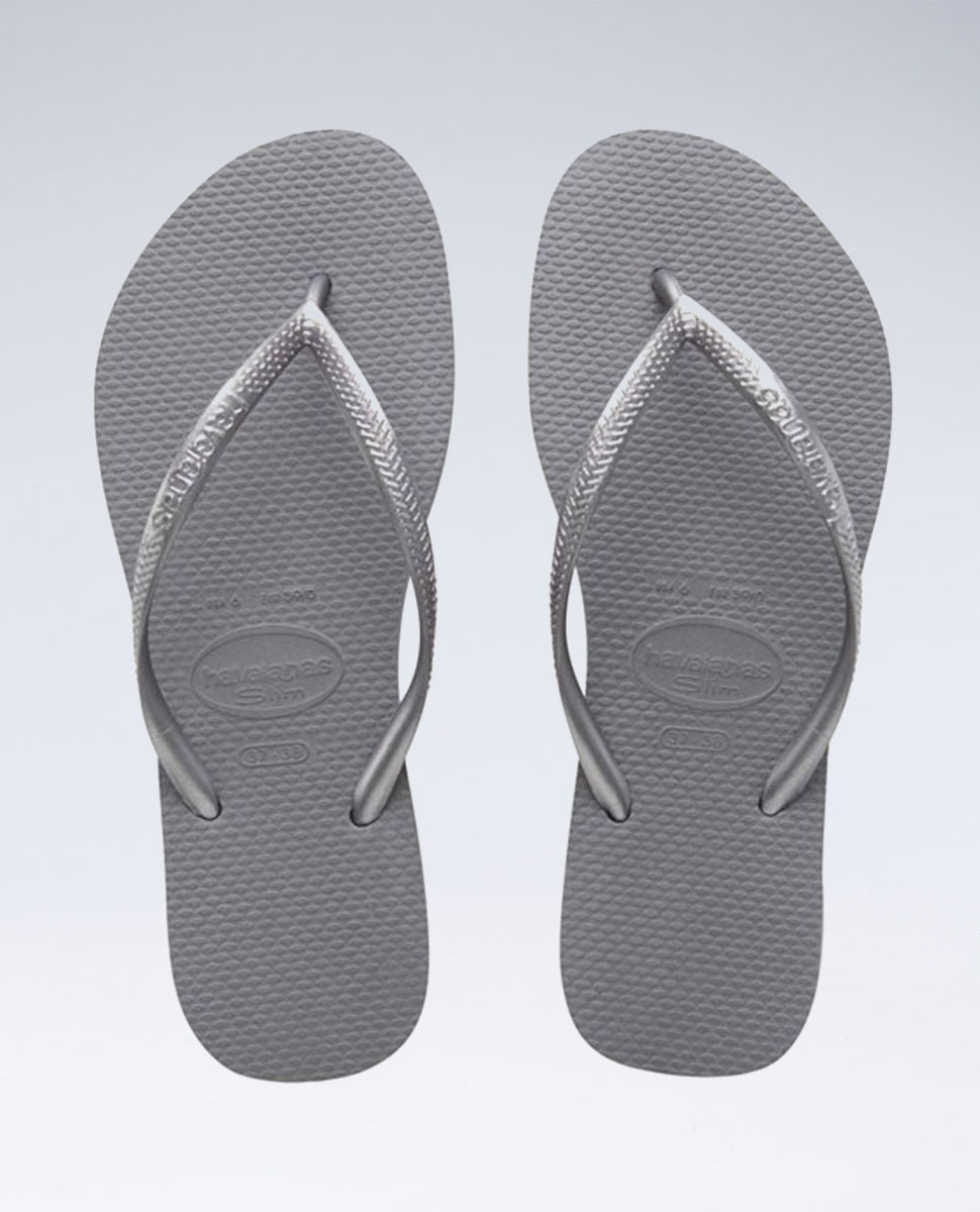 Slim Metallic Steel Grey Thongs