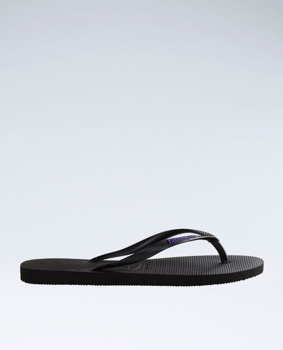 Slim Rubber Logo Black/Lilac Thongs