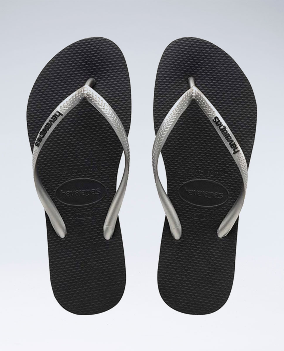 Slim Rubber Logo Black/Silver/Black Thongs