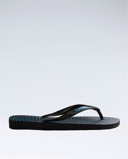 Graphic Blocks Black/Blue Thongs