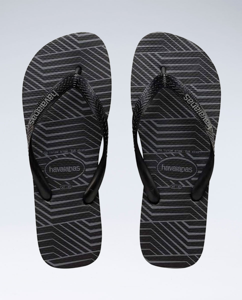 Graphic Blocks Black/Steel Grey Thongs