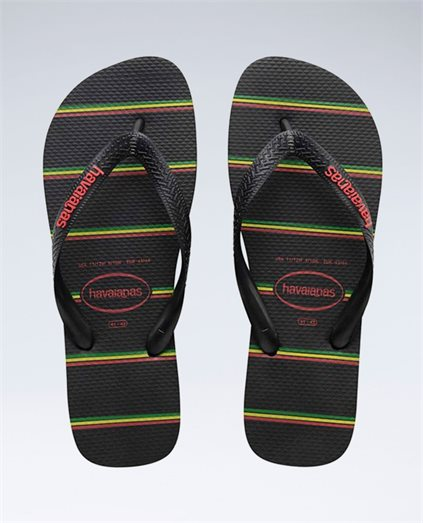 Stripes (Rasta) Black/Black/Red Thongs