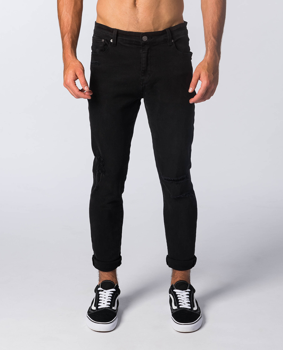 Pipes Crop Slash Relaxed Skinny Jean