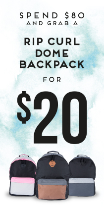 Mega Mens - Spend $80 and grab a Rip Curl Dome backpack for $20