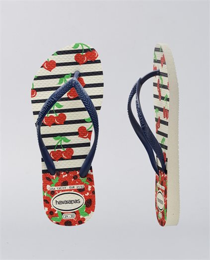 Kids Slim Fashion Cherry Navy Thongs