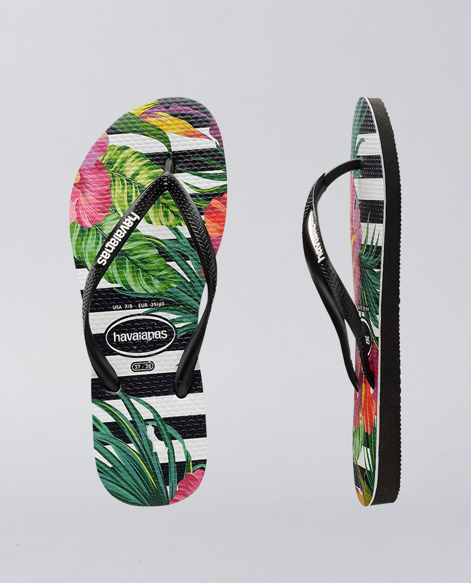 Kids Slim Floral Leaf Tropical Thongs