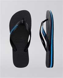 Rubber Logo Black Blue Thongs
