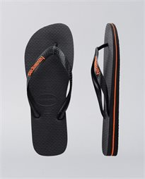 Rubber Logo Black Orange Neon Thongs