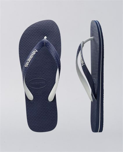 Rubber Logo Mix Navy Blue White Thongs