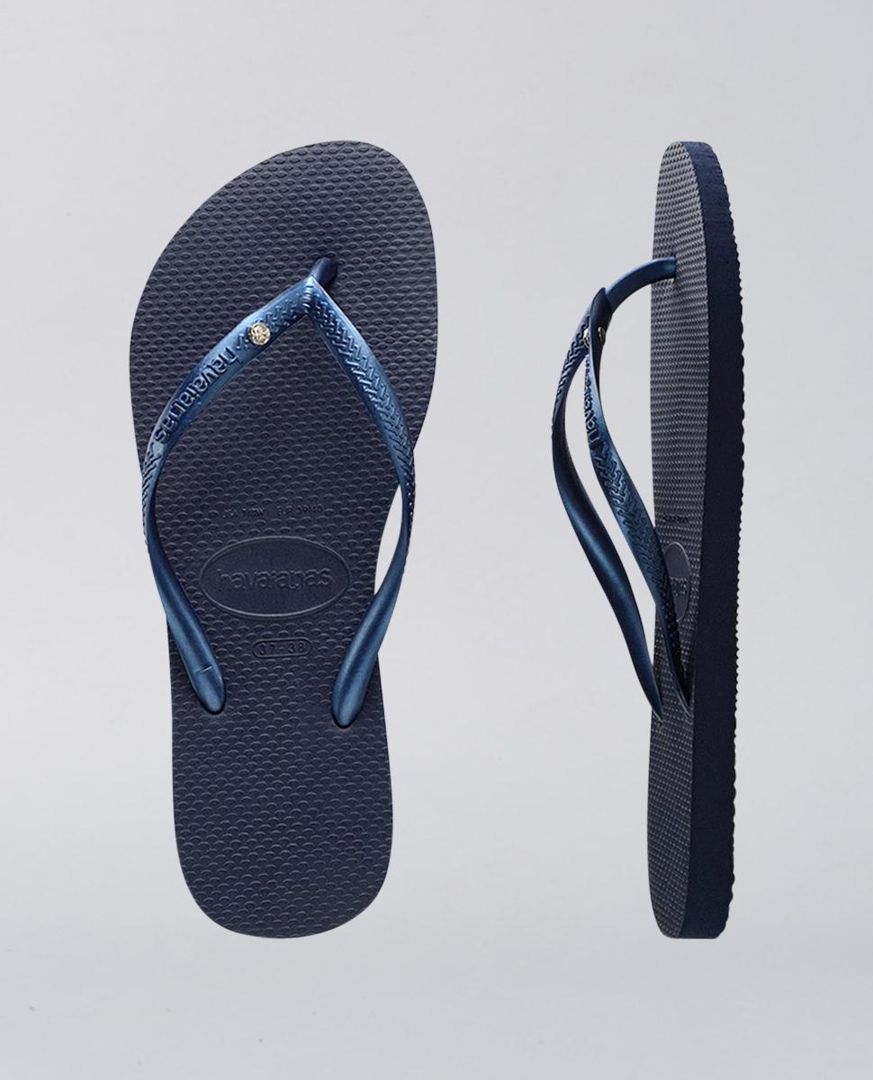 Slim Crystal Navy Blue Thongs