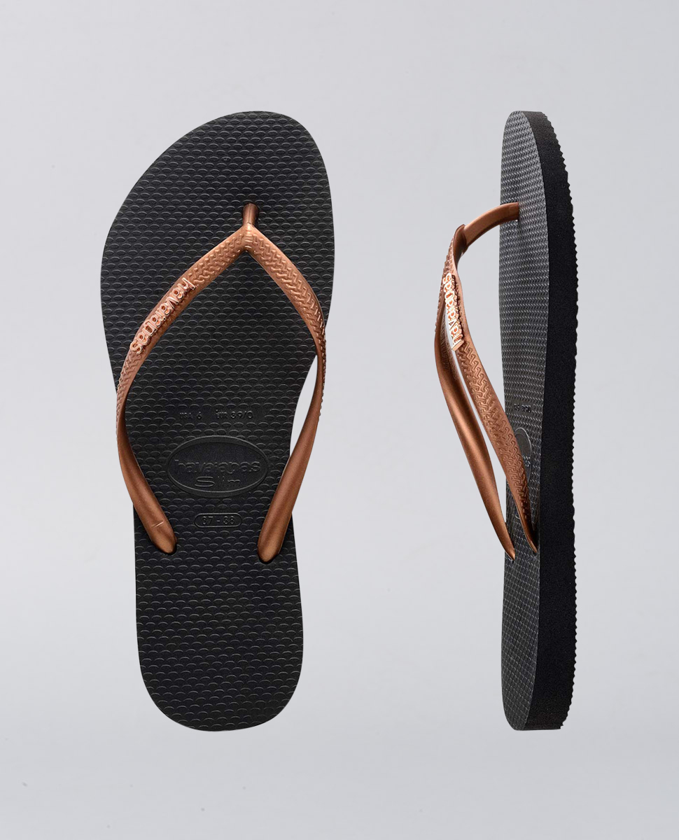 Slim Metal Logo Copper Gold Thongs