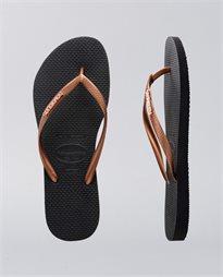 Slim Metal Logo Copper Gold Thongs