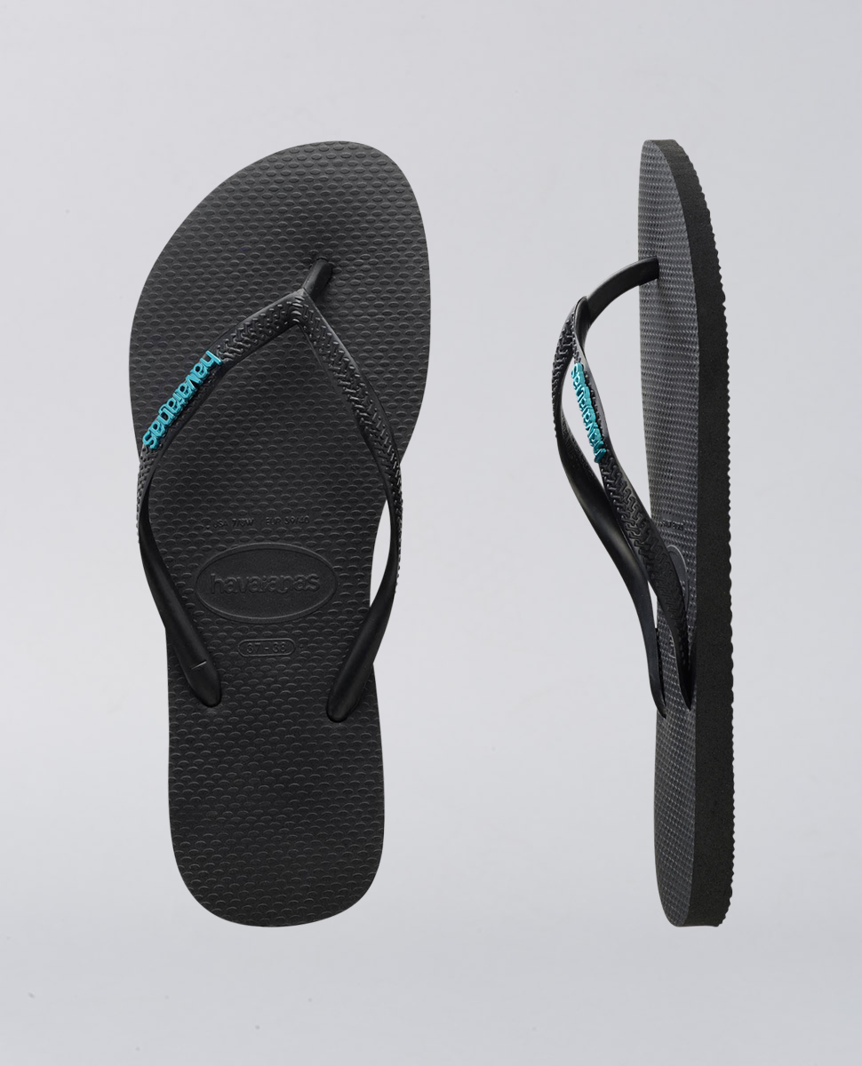 Slim Metal Logo Black Blue Thongs