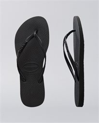 Slim Metal Logo Rock Black Thongs