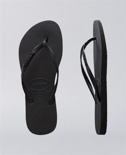 Slim Metal Logo Rock Black Thongs