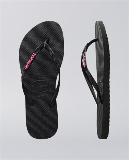 Slim Metal Logo Black Pink Thongs