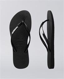 Slim Rubber Logo Black White Thongs