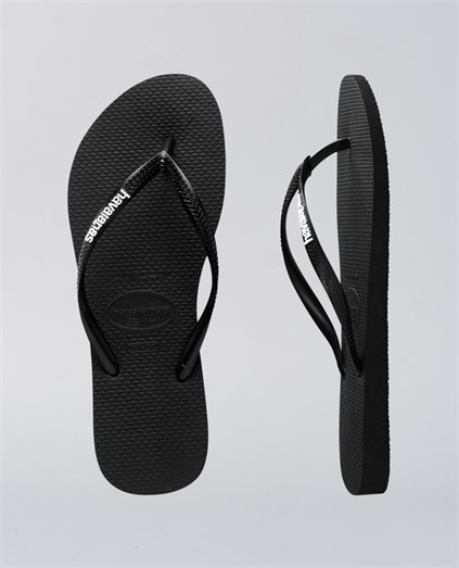 Slim Rubber Logo Black White Thongs