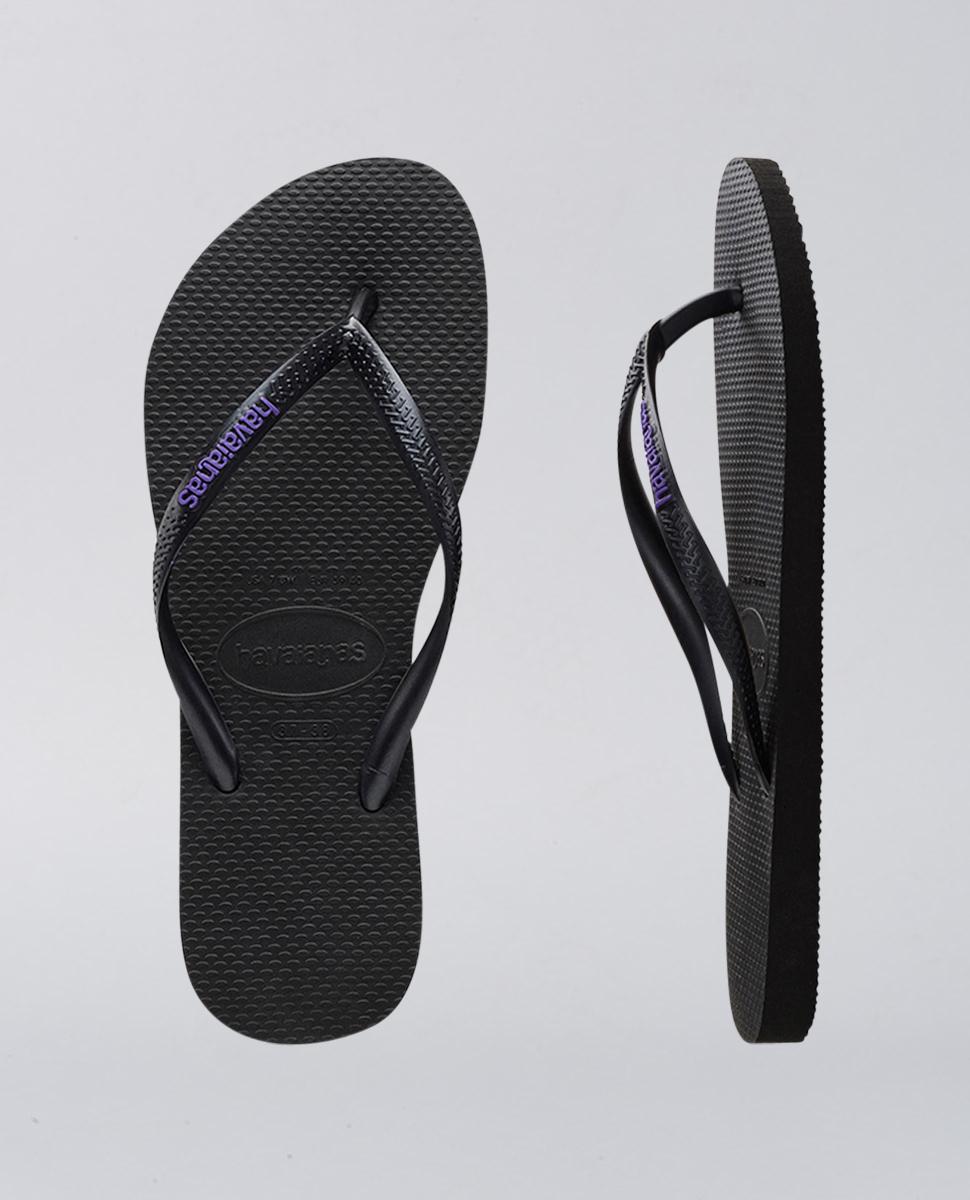 c7520eb63 Havaianas Slim Rubber Logo Black Lilac Thongs