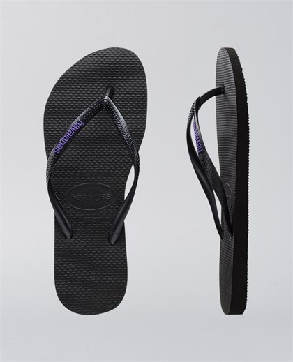 Slim Rubber Logo Black Lilac Thongs