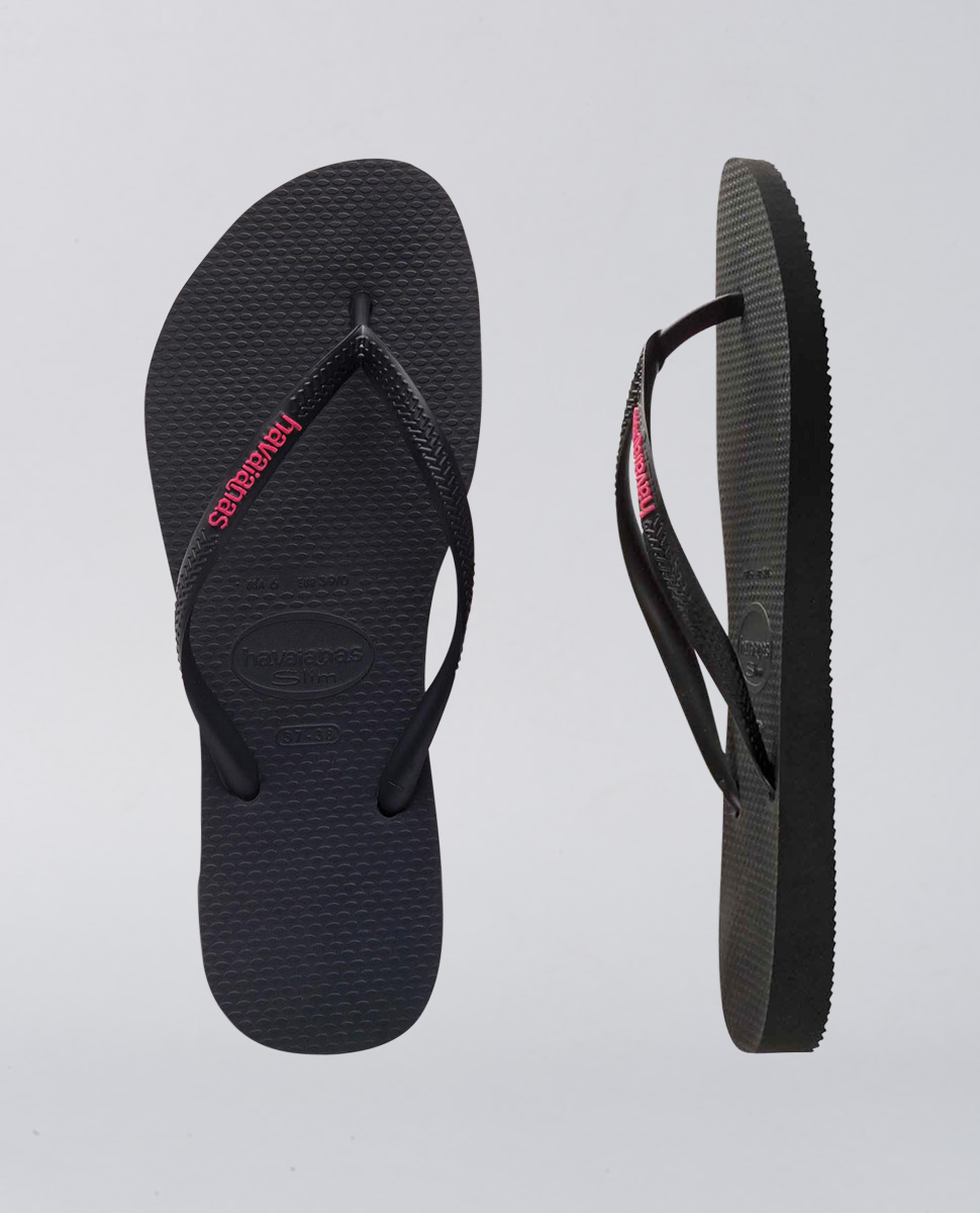 Slim Rubber Logo Black Neon Pink Thongs