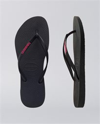 Slim Rubber Logo Black Neon Pink Thongs