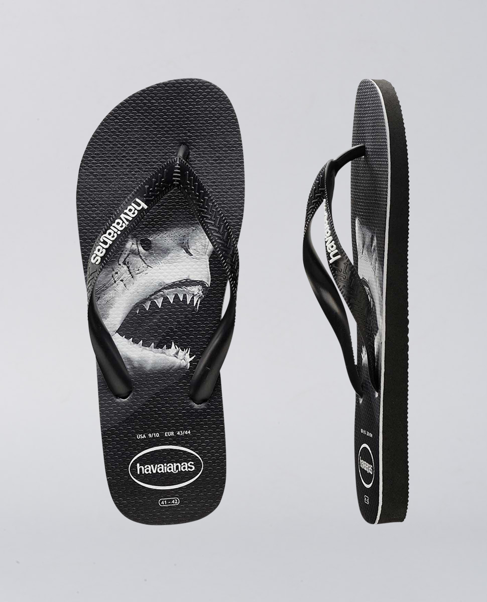 Rubber Logo Black White Shark Print Thongs