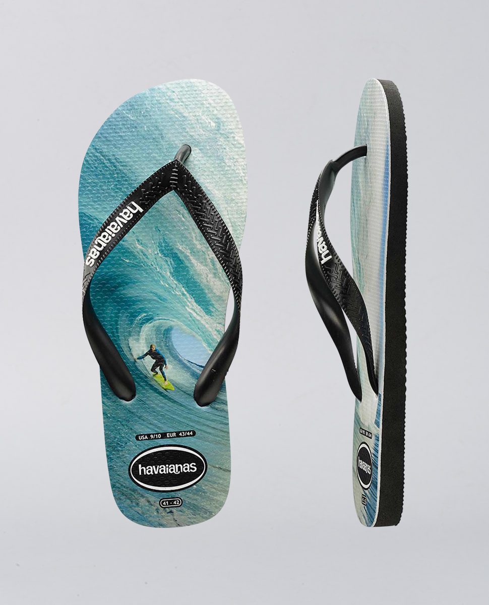 Rubber Logo Black Blue Surf Thongs